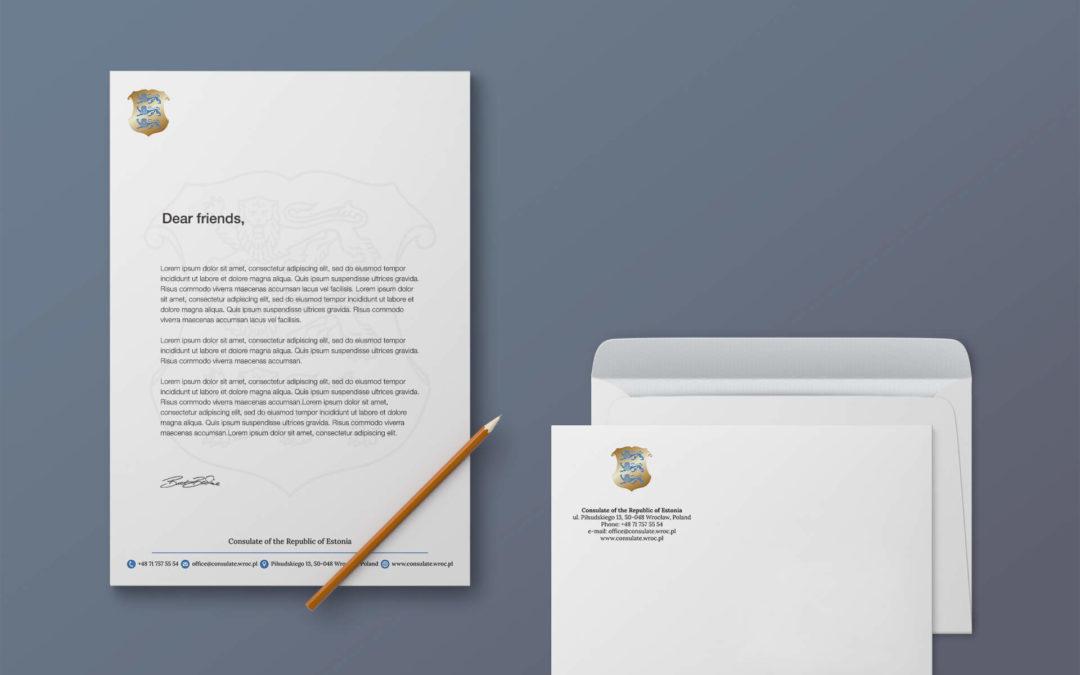 Papier firmowy i koperta dla konsulatu Estonii